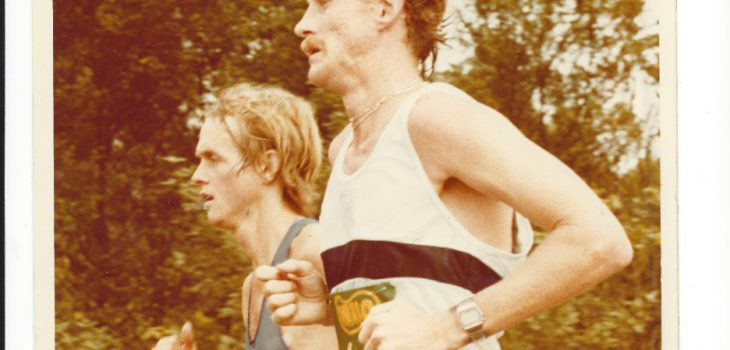 Bruce Fordyce and Alan Robb duelling in the 1982 Comrades down run.